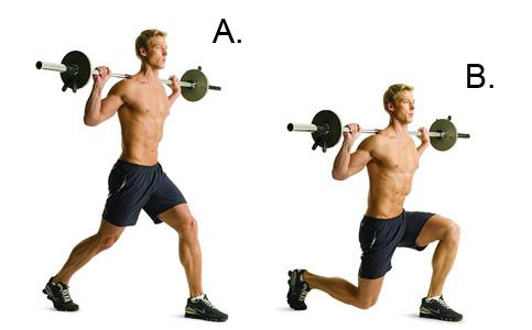 弓步, 这种操锻炼: 股四头肌, 腿筋和臀部